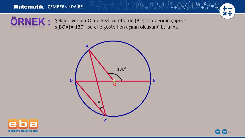 ÖRNEK : Şekilde verilen O merkezli çemberde [BD] çemberinin çapı ve